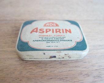 Vintage tins, Vintage Advertising, Medical Tins, ADS Aspirin Tin