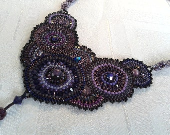 Reduced Price, OOAK, Handbeaded Purple Necklace, Seed Beads and Swarovski Crystals.