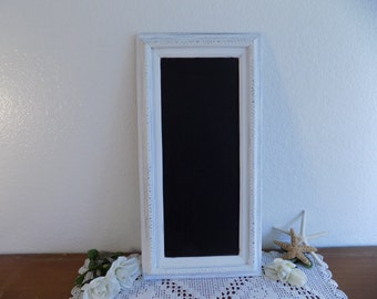 White Shabby Chic Wedding Chalkboard Up Cycled Vintage Blackboard French Country Farmhouse Romantic Cottage Kitchen Home Decor Office Sign
