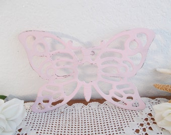 Pink Shabby Chic Butterfly Wall Hanging Baby Girl Nursery Romantic Cottage French Country Farmhouse Bedroom Home Decor Upcycled Vintage