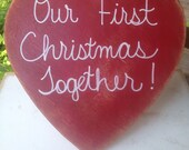 Our First Christmas Together Photo Prop Sign, Heart First Christmas Sign Prop