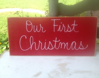 Our First Christmas Photo Prop Sign, Wooden Photography Props, Christmas Card Props