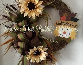 Welcome Fall, Autumn, Thanksgiving Scarecrow Grapevine Wreath