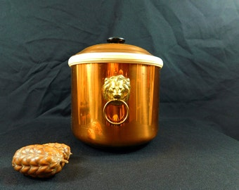 Vintage Coppercraft Guild ice bucket with brass lion head handles