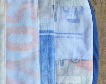 """Pot Holder, """"Soya"""", Vintage Flour Sack Scraps , Blue Ecru Pale Orange, Ticking, Feed Sack, Flour Sack, Hot Pad"""