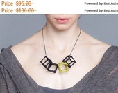 textile necklace, squares texture jewelry, pendant necklace, 3D necklace, statement necklace, black cubes