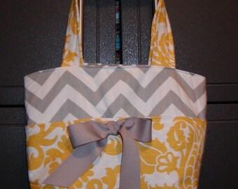 Diaper bag, handbag, purse, book bag..Mustard Paisley N Gray Chevron...Add a Name. Customize yours now.