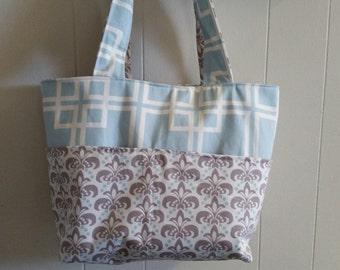 Diaper bag, handbag, purse, book bag..Tan N Blue..Add a Name..Customize yours now.