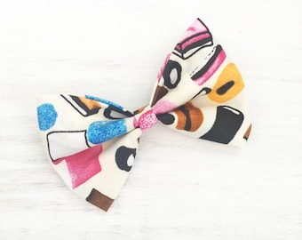 Cream with multi color liquorice all sorts candy print hair bow