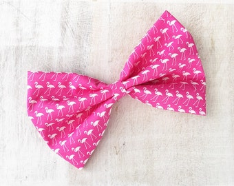 Pink with white flamingo print large hair bow on clip Rockabilly Pin up