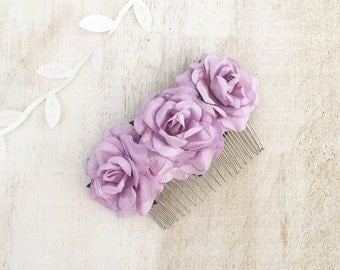 Pretty paper roses lilac hair comb - bridal accessories - flower girl - wedding