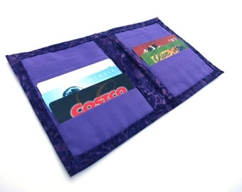 Small Wallet Credit Card Holder Organizer with 12 Slots Cotton Fabric Women Ladies Business Card Book Receipts Coupons Purple Batik