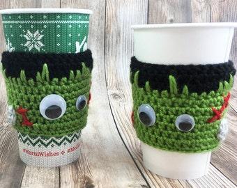 Coffee Cup Cozy, Frankenstein Sleeve, Halloween Coffee Cover, Tea Cup Cozy, Coffee Sleeve, Coffee Cup Sleeve, Tea Cup Sleeve