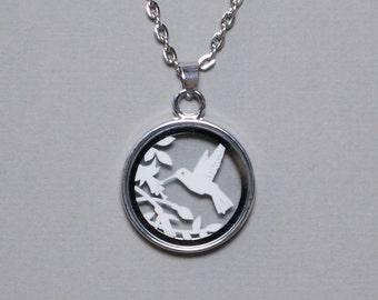 Papercut Pendant / Papercut Necklace - 1st Wedding Anniversary Gift - Paper Anniversary - Silver Plated - 'Hummingbird'