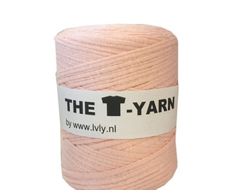 The t-shirt yarn 120-135 yards, 100% recycled cotton tricot yarn, light salmon pink