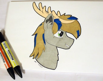 Profile Promaker OC Drawing on Marker Paper - Pony, Unicorn, Pegasus , Horse or Dragon Characters / YCH - Your Character Here Style