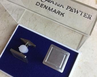 Mid century modern Jorgen Jensen pewter cufflinks made in Denmark
