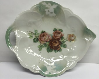 Mitchell Woodbury Company Nut Plate Early 1900 Rose Hand painted in Germany Cabbage Maddock Sons Lamberton Works