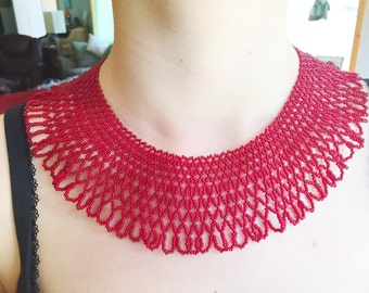 Red Hand Beaded Necklace