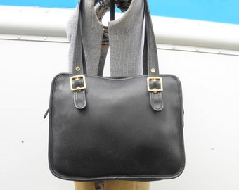 COACH Vintage USA Black Leather Large Tote Handbag H0D-9163