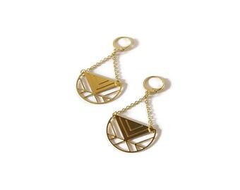 Boucles d'oreilles Géométrie, laiton doré à l'or fin