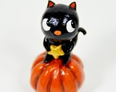 Black Cat on a Pumpkin Figurine, One of A Kind, Halloween Cat Decor, Fall Art, Cat with Star, Cat Lover Gift, Holiday Decor