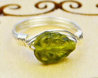 Sale! Green Leaf Wire Wrapped Ring- Sterling Silver Filled Wire with Glass Bead -Any Size 4, 5, 6, 7, 8, 9, 10, 11, 12, 13, 14