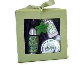 New Mom Baby Gift Set / Organic Baby Shea Butter Diaper Balm / Baby Bath Milk / New Mom Baby Shower Gift