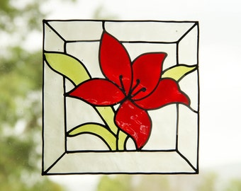 Red flower - Stained glass window cling - Suncatcher - Window Mirror Tile decoration - handmade decal - home decoration -