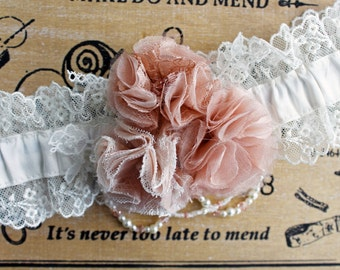 Dusky Pink & Ivory Wedding Garter - Silk and Lace with Roses, Crystals and Pearls