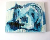Abstract oil painting original blue art home decoration oil on canvas ready to hang UNIVERSE