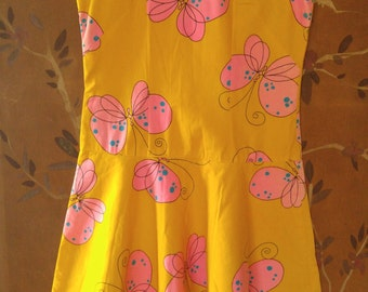 60s neon yellow and pink butterflies flower power drop waist summer dress