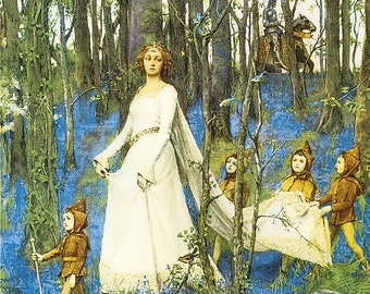 The Fairy Woods Henry Meynell Rheam 1903 Vintage Reproduction Print 11 x17