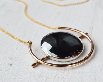 Atomic Hematite Disk Necklace, Metallic Circle Necklace, Long Boho Necklace, Stone Pendant Necklace, Round Pendant, Gold Filled