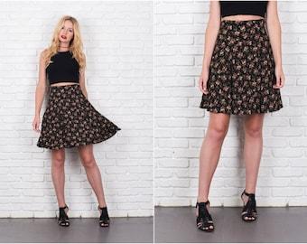 Mini Grunge Skirt Green Skirt Pink Floral Skirt Garden Print Small Skirt  S Skirt 7921 Vintage Skirt  80s Skirt Black skirt