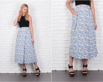 Mod Skirt Wrap White blue A Line High Waist Medium M 7950 Vintage 70s skirt vintage skirt wrap skirt white skirt blue skirt medium skirt