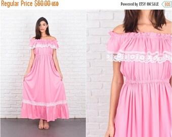 LABOR DAY SALE Vintage 70s Pink Maxi Dress Boho White Floral Lace Cape Slv Medium M 7252