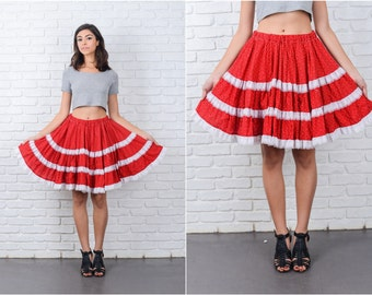 Vintage 70s Red Full Skirt White Lace Floral Print high waist Small Medium S M L 7163