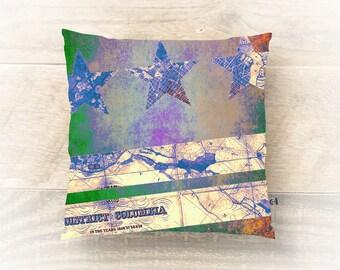 Washington DC Map Throw Pillow District of Columbia Flag Style Modern Chic Home Decor
