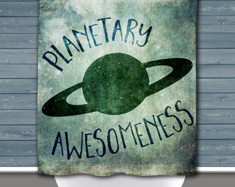 Space Shower Curtain: Planetary Awesomeness Saturn | Made in the USA | 12 Hole Fabric Bathroom Decor
