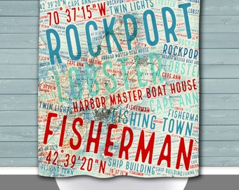 Rockport Shower Curtain: Massachussets Typography Vintage Map | Made in the USA | 12 Hole Fabric Bathroom Decor