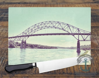 Glass Cutting Board - Sagamore Bridge Cape Cod | Vintage Vacation Beach House Decor | Small or Large Kitchen Art for Your Countertop