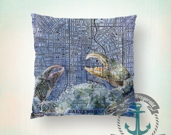 Baltimore Map Throw Pillow | Maryland Crab Blue Home Decor  Product Sizes and Pricing via Dropdown Menu