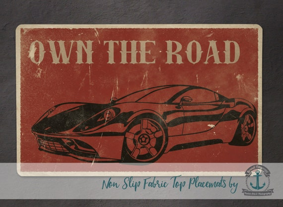 Placemat - Vintage Car | Own The Road Mancave Decor | Anti Skid/Non Slip Fabric Top Rubber Backed Awesomeness