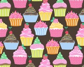 Icing on Top Cupcakes on Brown from Blend Fabric's Lolly Collection by Maude Asbury