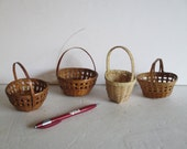Mini Market Baskets, Four Small Baskets, Craft Supply, Party Favor Decor, Spring Easter, Neutral Brown Tan