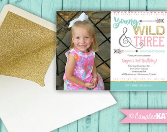 Young, Wild and THREE - Arrow Gold Glitter Printable Birthday Party Invitations - Personalized for you! Pink & blue - 5x7 digital file