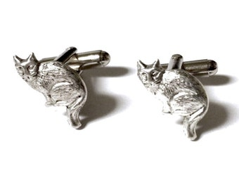SALE Cat Cufflinks, Silver OR Brass-  Mens Handcrafted Kitten Cuff Links- Groom Wedding Guys Prom Mans Pet Kitty Animal Gift