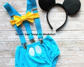 Mickey Mouse Birthday outfit costume cake smash suspenders baby blue clubhouse diaper cover bowtie 12 18 24 toddler Ready To Ship SALE