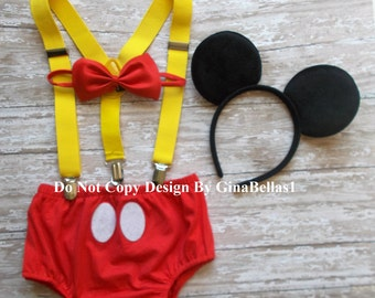 Mickey Mouse Birthday cake smash outfit costume Suspenders FREE Ears clubhouse Diaper Cover RED bowtie baby shower 6 9 12 18 24 toddler